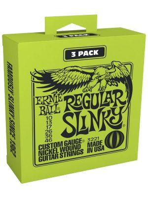 Ernie Ball Regular Slinky Nickel Wound Electric Guitar Strings 10-46 Gauge 3-Pack