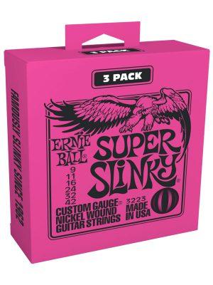 Ernie Ball Super Slinky Nickel Wound Electric Guitar Strings 9-42 Gauge 3-Pack